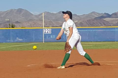 Rancho senior Sam Pochop throws a pitch during the Class 4A state softball play-in game Mond ...