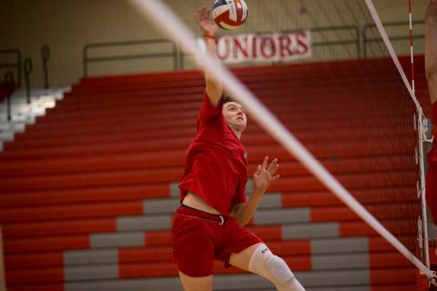 Arbor View's Treven Clizbe (11) during a volleyball team practice at Arbor View High S ...