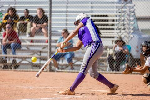 Durango's Trinity Valentine bats during a game against Clark High School at Clark High ...