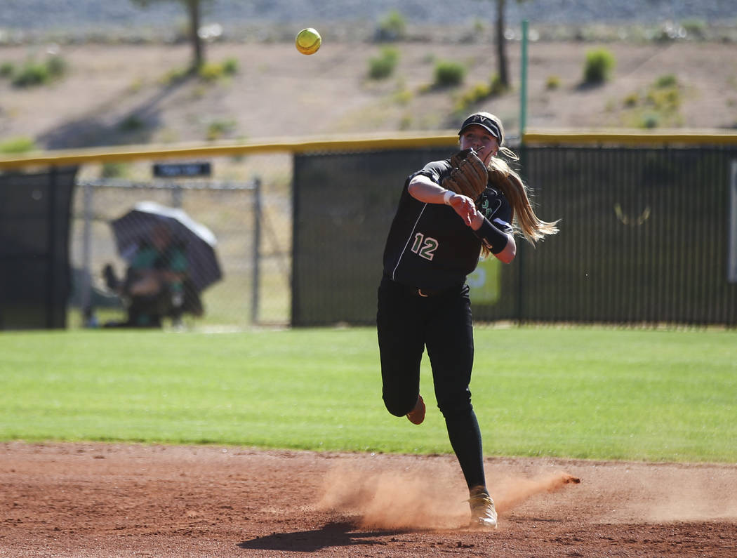 Palo Verde's Ally Snelling throws to first base during a Sunset Region softball tourna ...