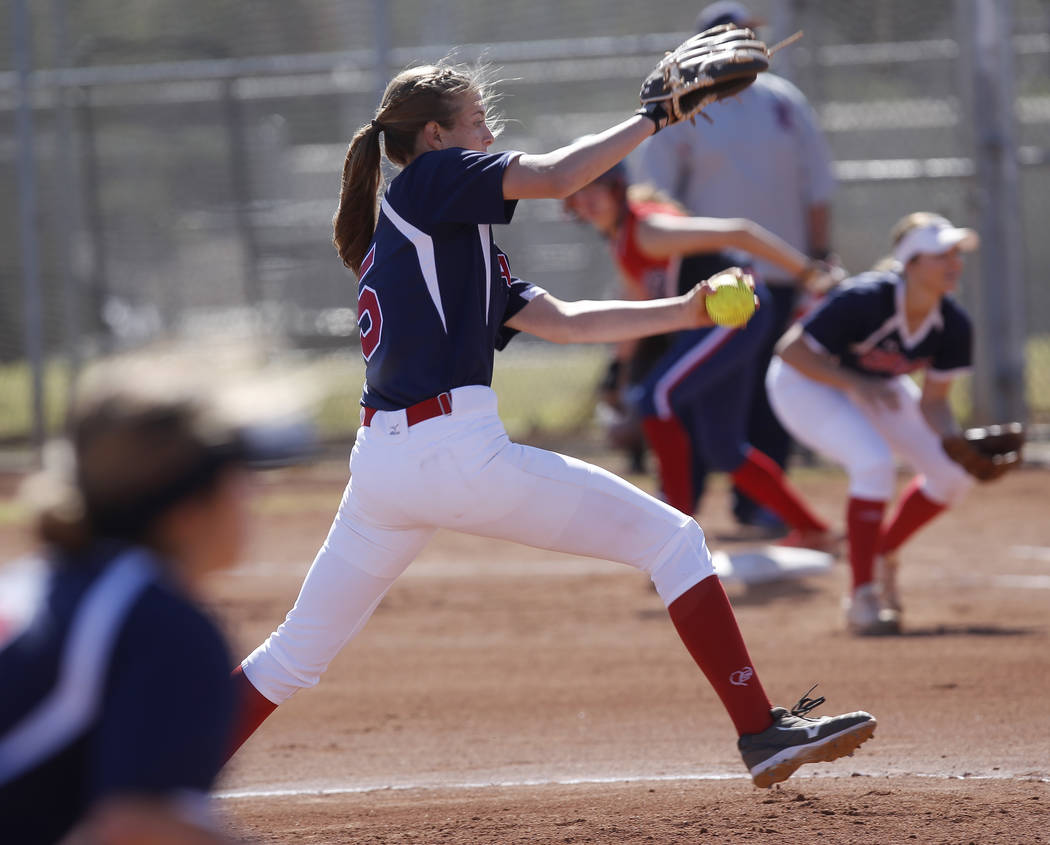 Coronado's Tatum Spangler (5) pitches to Liberty during the first inning of a high sch ...