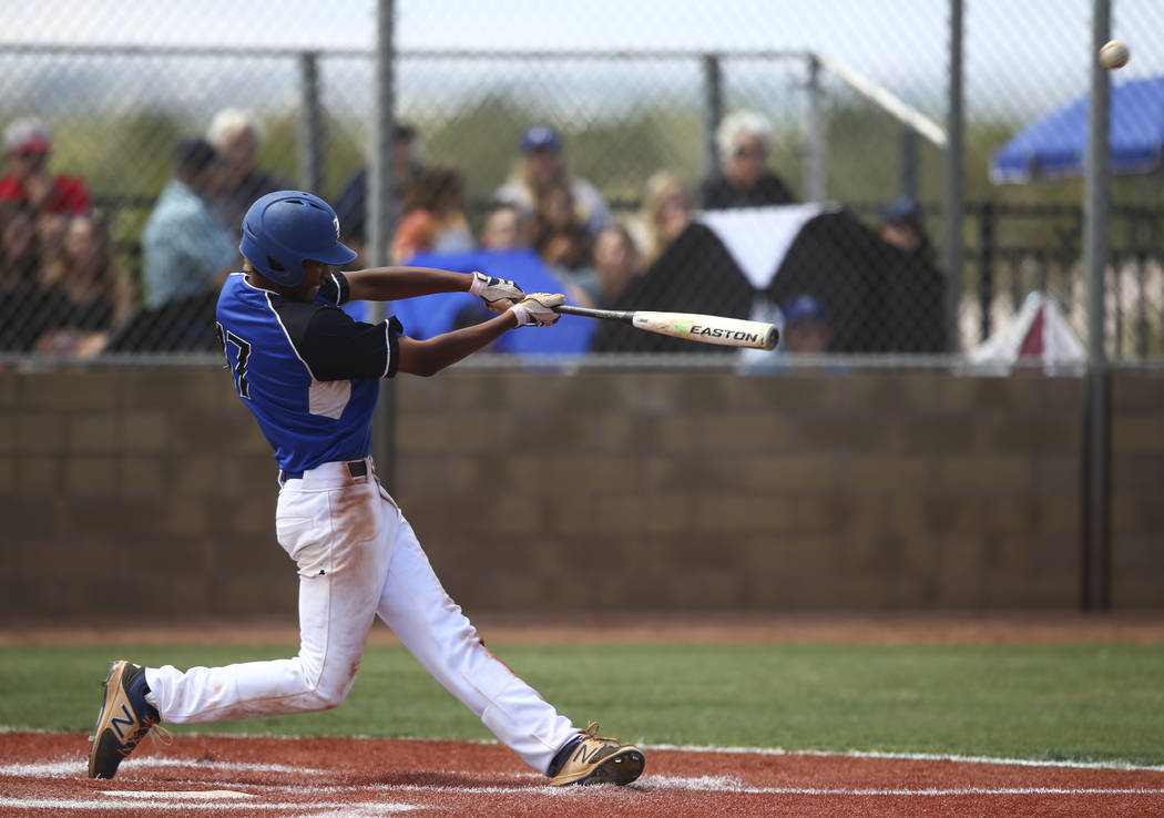 Basic's Garrett Giles hits a home run against Galena during a Class 4A state baseball ...