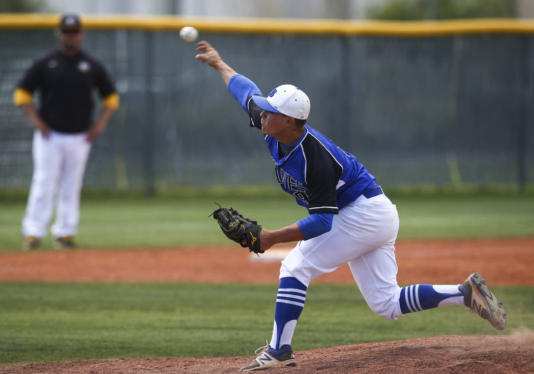 Basic's C.J. Dornak pitches to Galena during a Class 4A state baseball tournament game ...