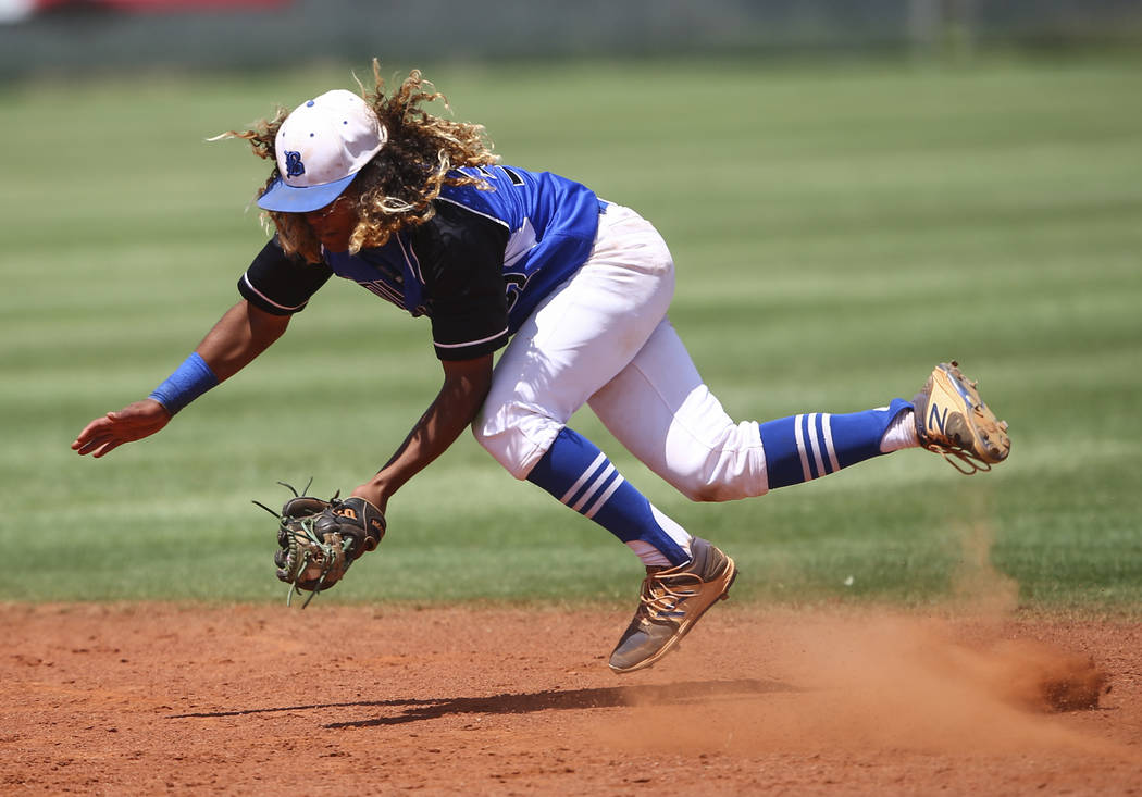 Basic's Christian Rivero fields a grounder from Galena during a Class 4A state basebal ...