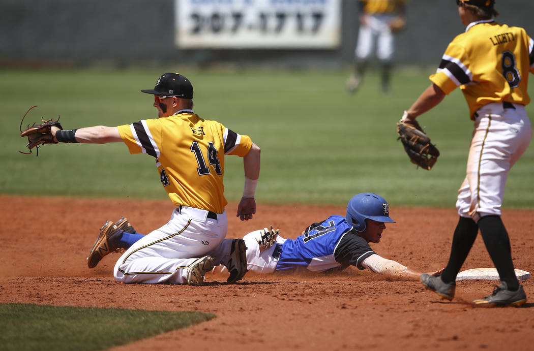 Basic's Paul Myro (21) makes it safely back to second base against Galena's Andr ...