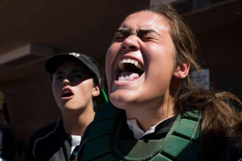 Palo Verde junior Grace Chavez cheers on her teammates during a game against Reed at Bishop ...