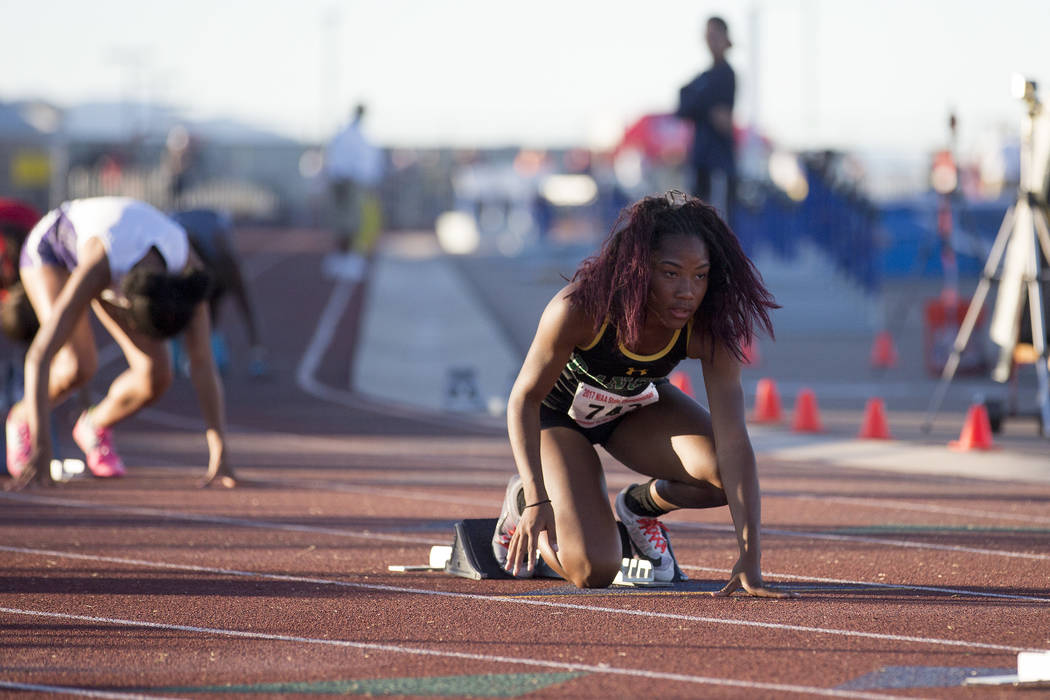 Rancho junior Gizelle Reid prepares for the girls 4A 400-meter dash at the NIAA State Track ...