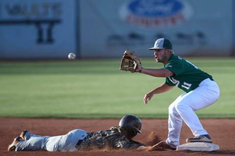Bonanza's Jay Desoto makes it back to second to stay safe against Green Valley's ...