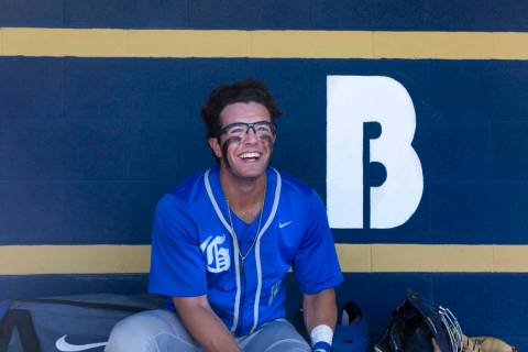 Bishop Gorman's Austin Wells in the dugout during the second inning against Spring Val ...