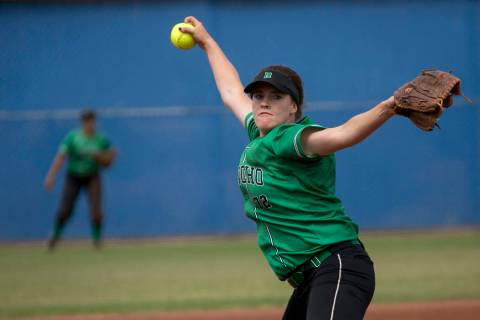 Rancho senior Sam Pochop (72) pitches to Palo Verde during a game in the Class 4A state soft ...