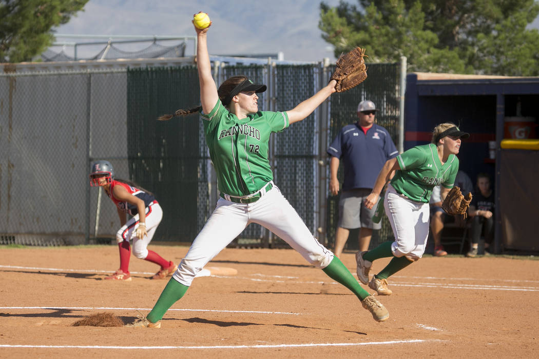 Rancho senior Sam Pochop pitches to Liberty during a Sunrise Region softball tournament game ...