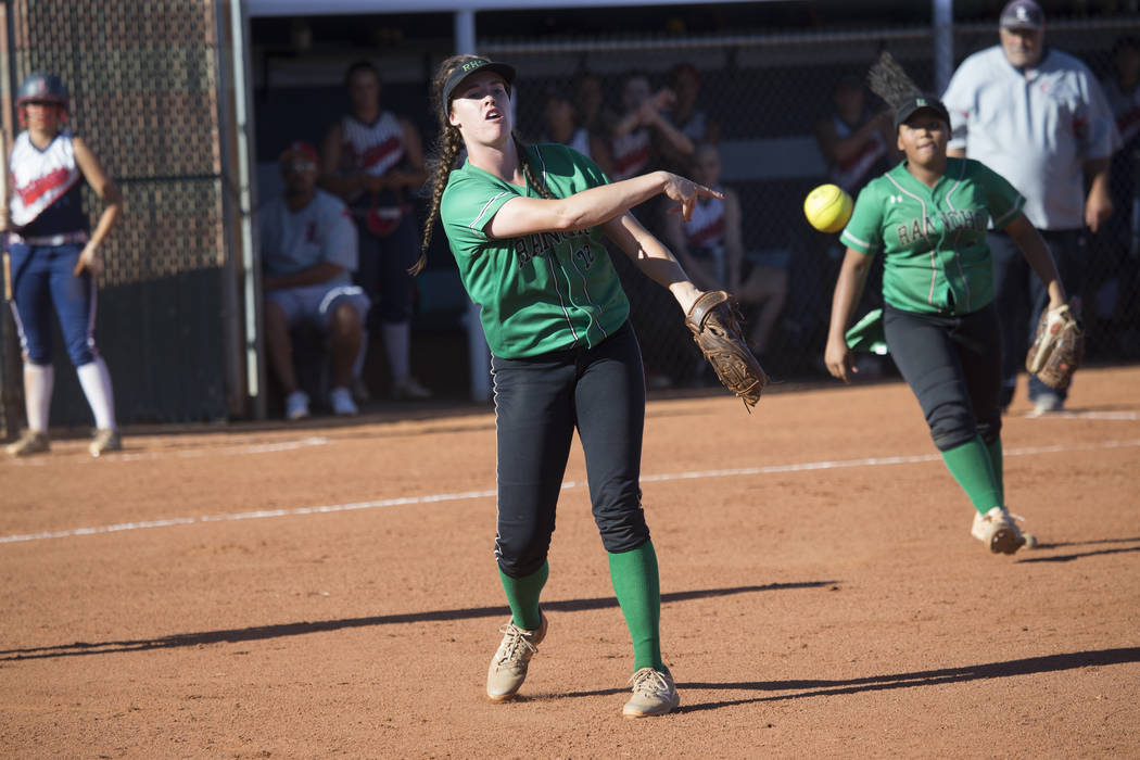 Rancho's Sam Pochop (72) throws to first base for an out against Liberty at Foothill H ...