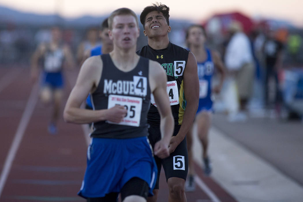 Rancho senior Luis Soto reacts to placing second in the 4A boys 800-meter dash at the NIAA S ...