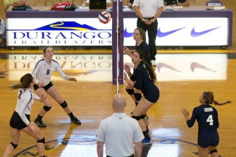 Shadow Ridge plays a match against Durango during a Sunset Region girls volleyball semifinal ...