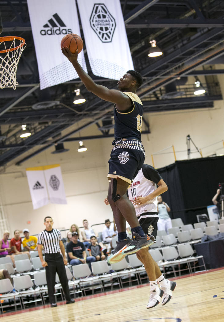 SC Supreme forward Zion Williamson (12) scores a point against Play Hard Play Smart during a ...