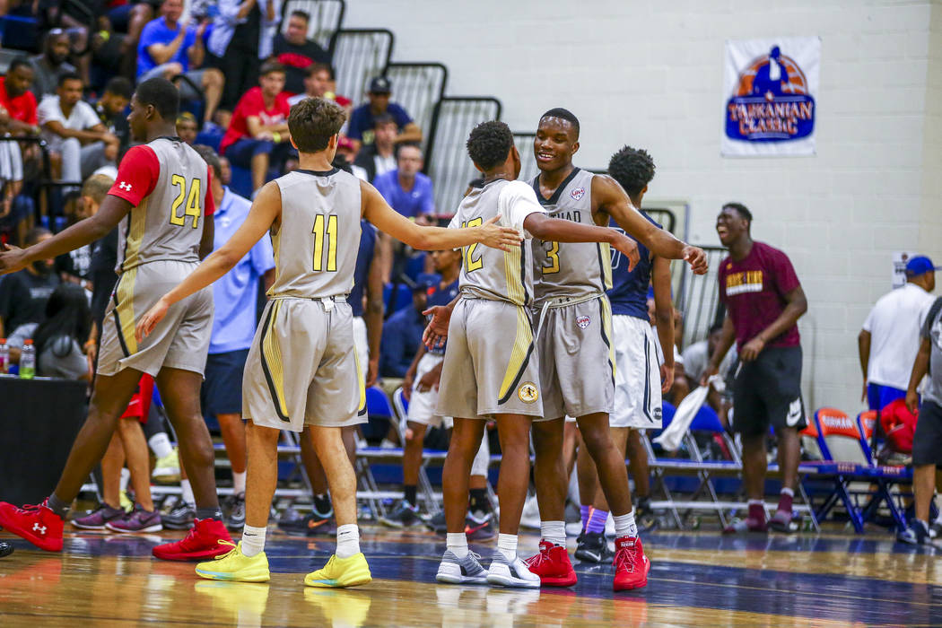 Team Thad celebrates after winning against New York during the Las Vegas Fab 48 Championship ...