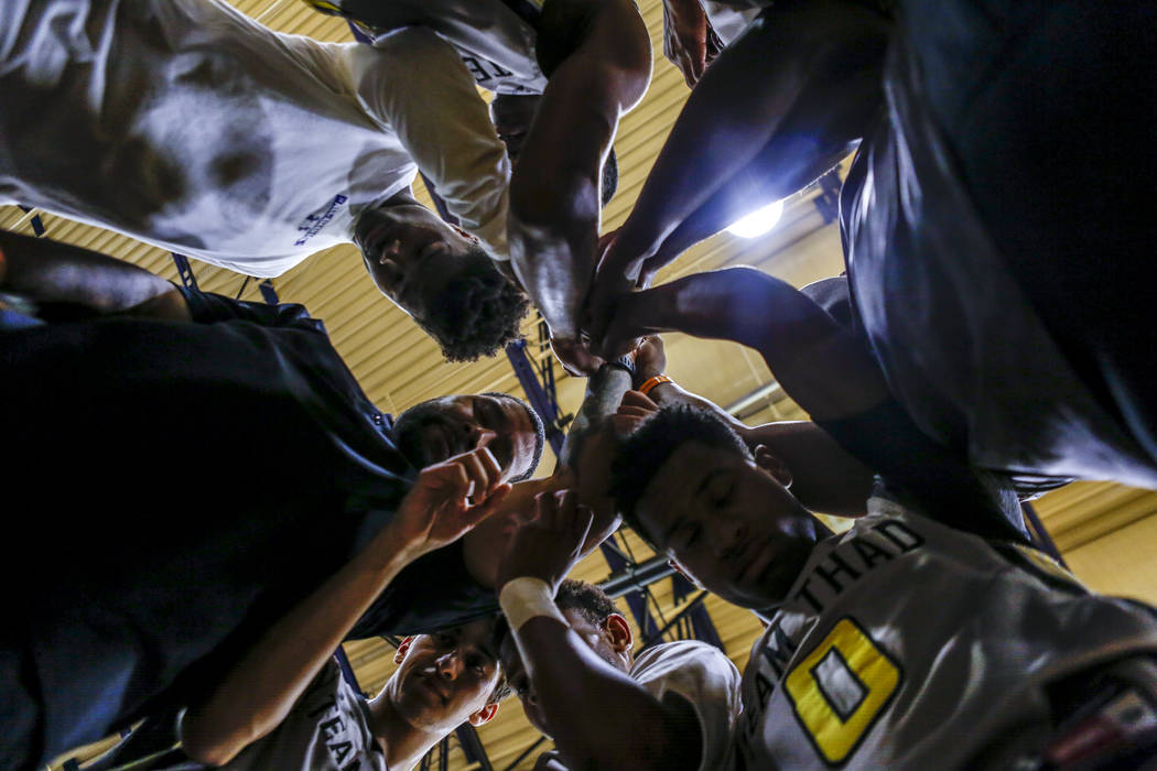 Team Thad comes together in a post-game huddle during the Las Vegas Fab 48 Championship Game ...