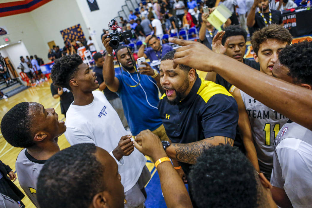 Team Thad celebratets in a post-game huddle during the Las Vegas Fab 48 Championship Game on ...