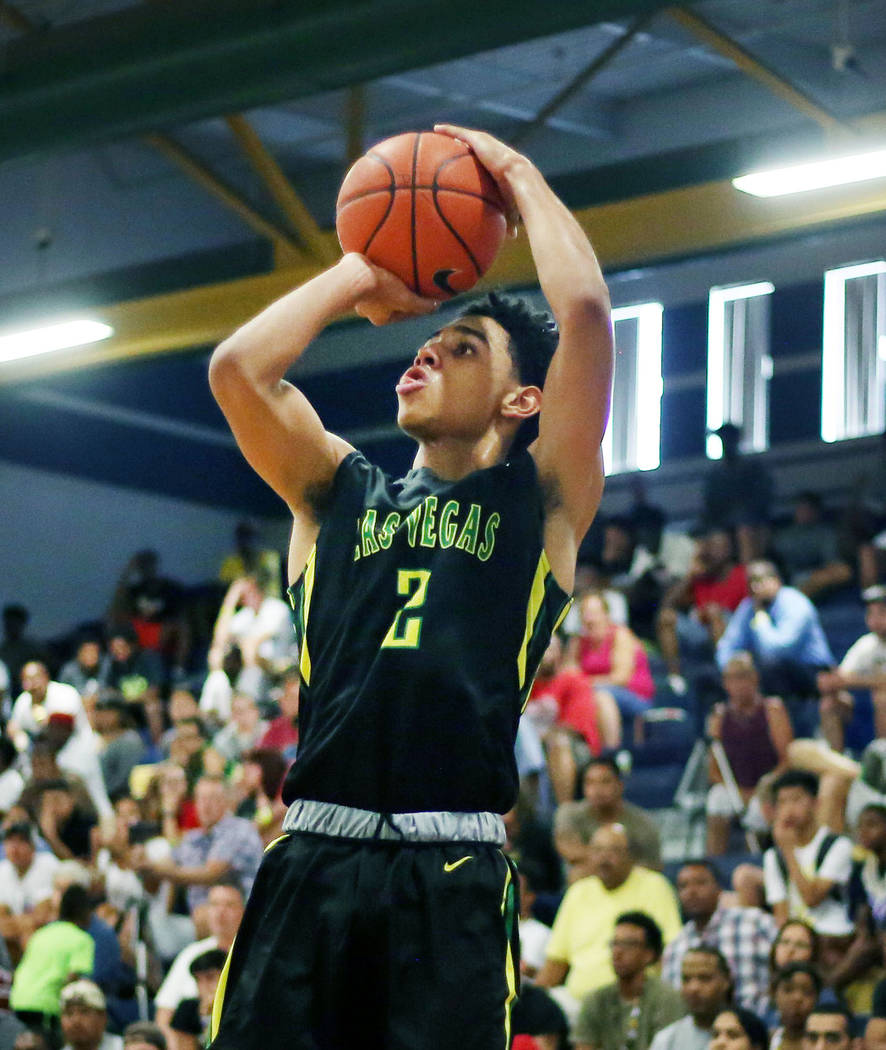 Las Vegas Prospects' Marvin Coleman II shoots the ball against California Supreme duri ...