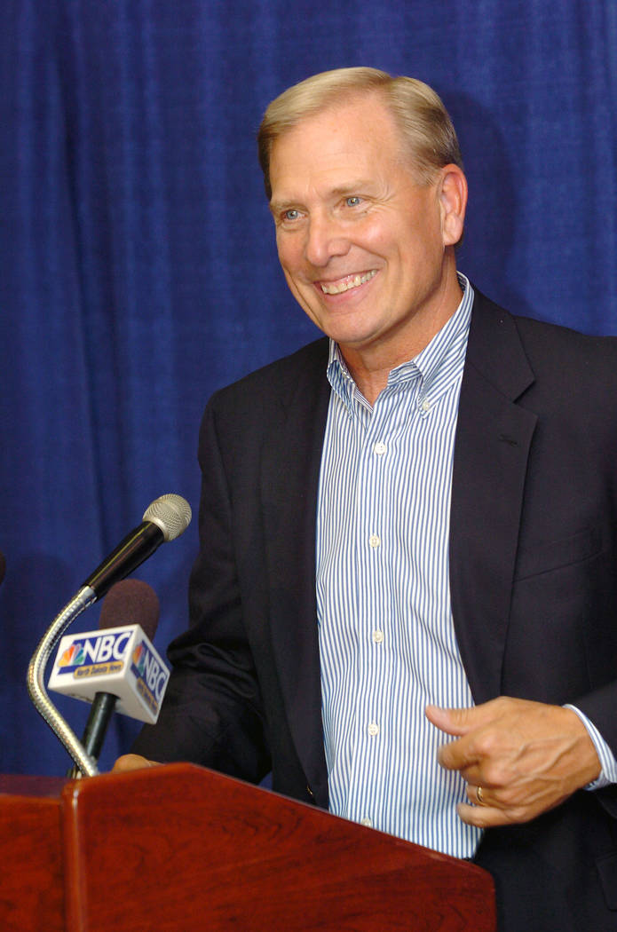 Dave Bliss answers questions during a news conference in Bismarck, N.D., Friday, Aug. 26, 20 ...