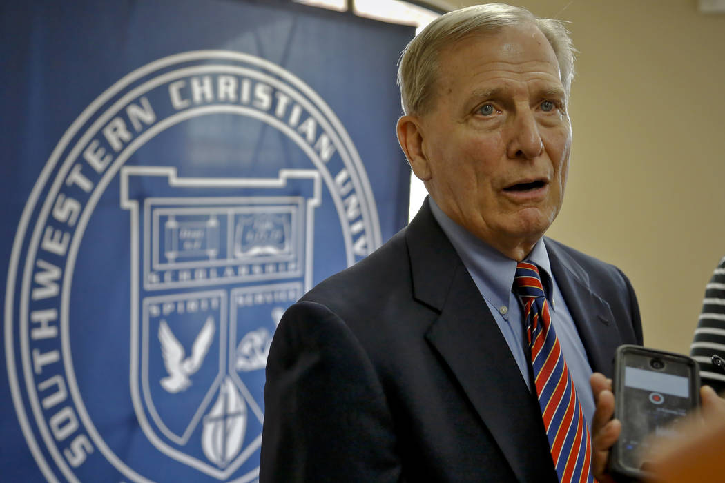 Dave Bliss speaks to the media during his introduction as the Southwestern Christian Univers ...