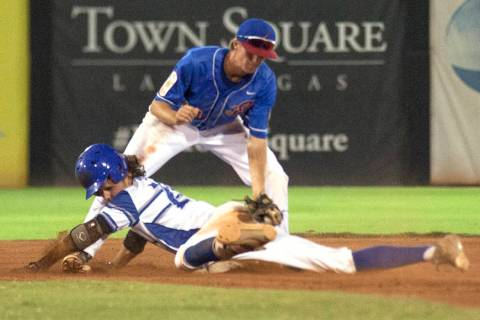 Las Vegas Aces' Cole Schaeffer (10) attempts to tag out Southern Nevada Blue Sox&#8217 ...