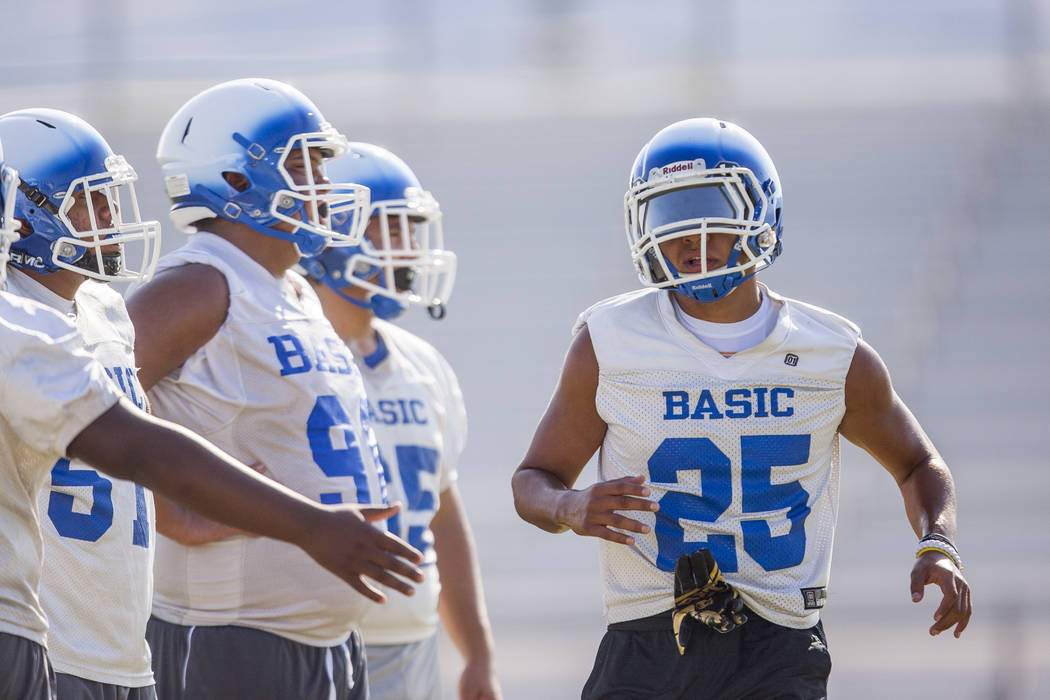 Basic senior Jordan Gallegos during practice at Basic High School football field on Monday, ...