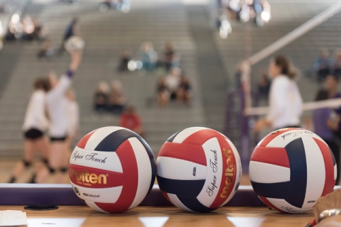 Volleyballs sit on a desk prior to Shadow Ridge playing a match against Durango during a Sun ...