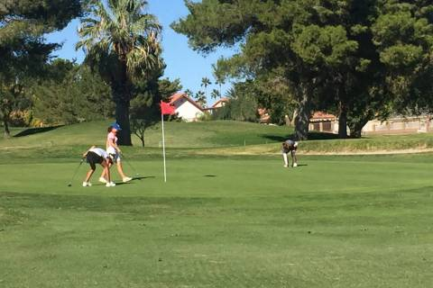 Golfers conclude their opening round of the Class 4A Sunset Region girls golf tournament at ...