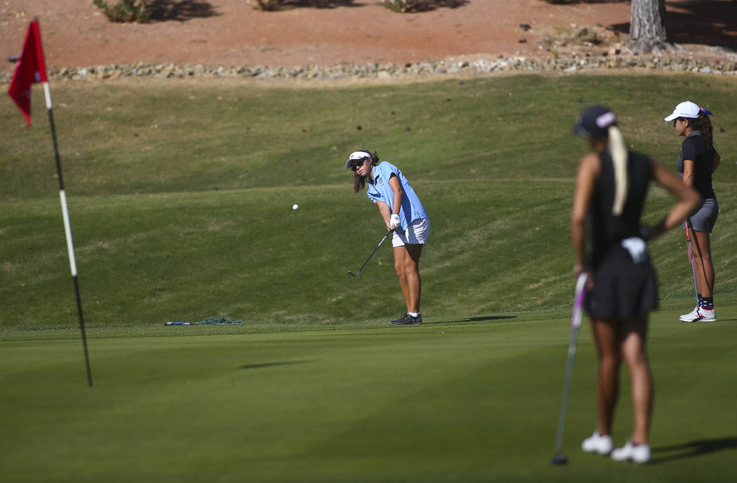 Centennial's McKenzi Hall competes during the Class 4A state girls golf tournament at ...