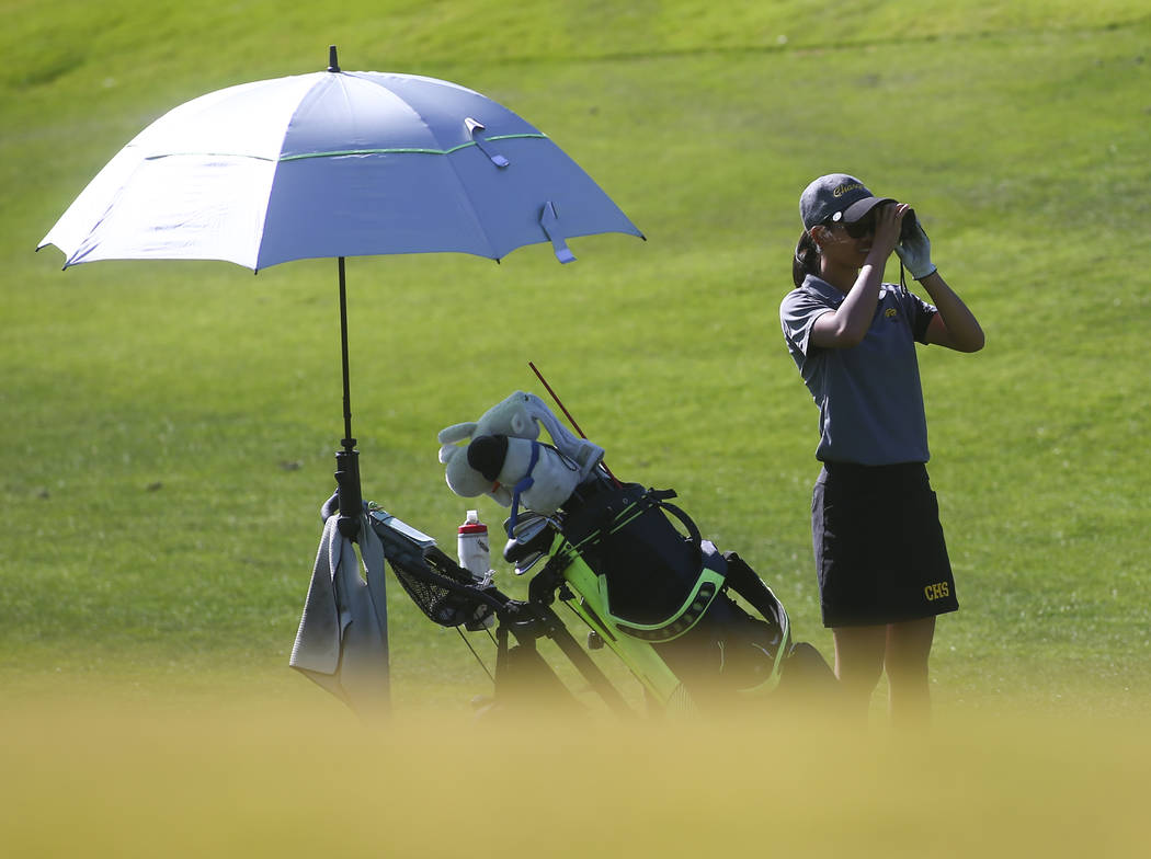 Clark's Riana Mission checks the course while competing during the Class 4A state girl ...