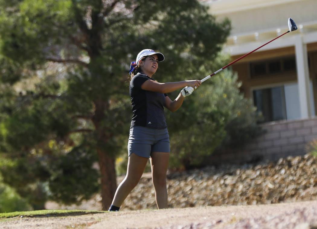 Coronado's Gabby Denunzio watches her tee shot during the Class 4A state girls golf to ...