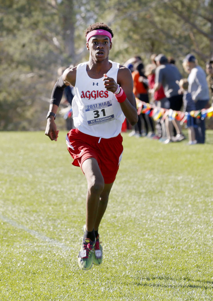 Arbor View's Keith Williams (31) competes during the Boys Cross Country Class 4A Sunse ...