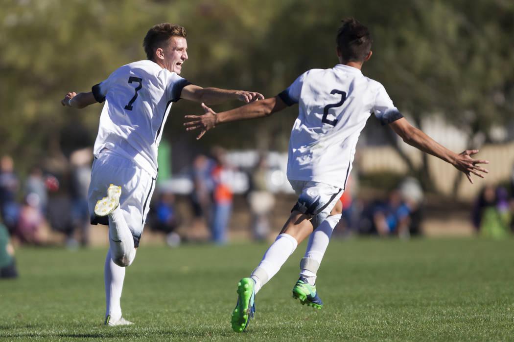 Coronado's John Lynam (7) celebrates his goal against Eldorado with his teammate Noah ...
