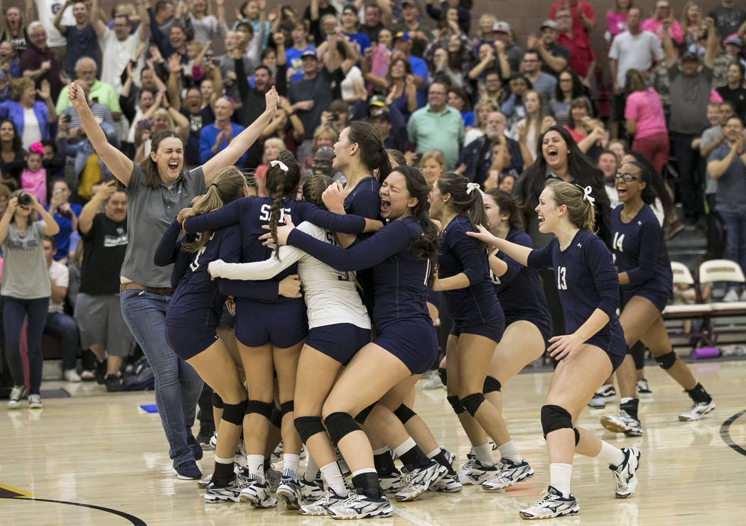 Shadow Ridge celebrates after defeating the Gorman Gaels in the Class 4A state volleyball ch ...