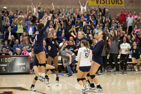 The fans go wild after Shadow Ridge defeats the Gorman Gaels in the Class 4A state volleybal ...