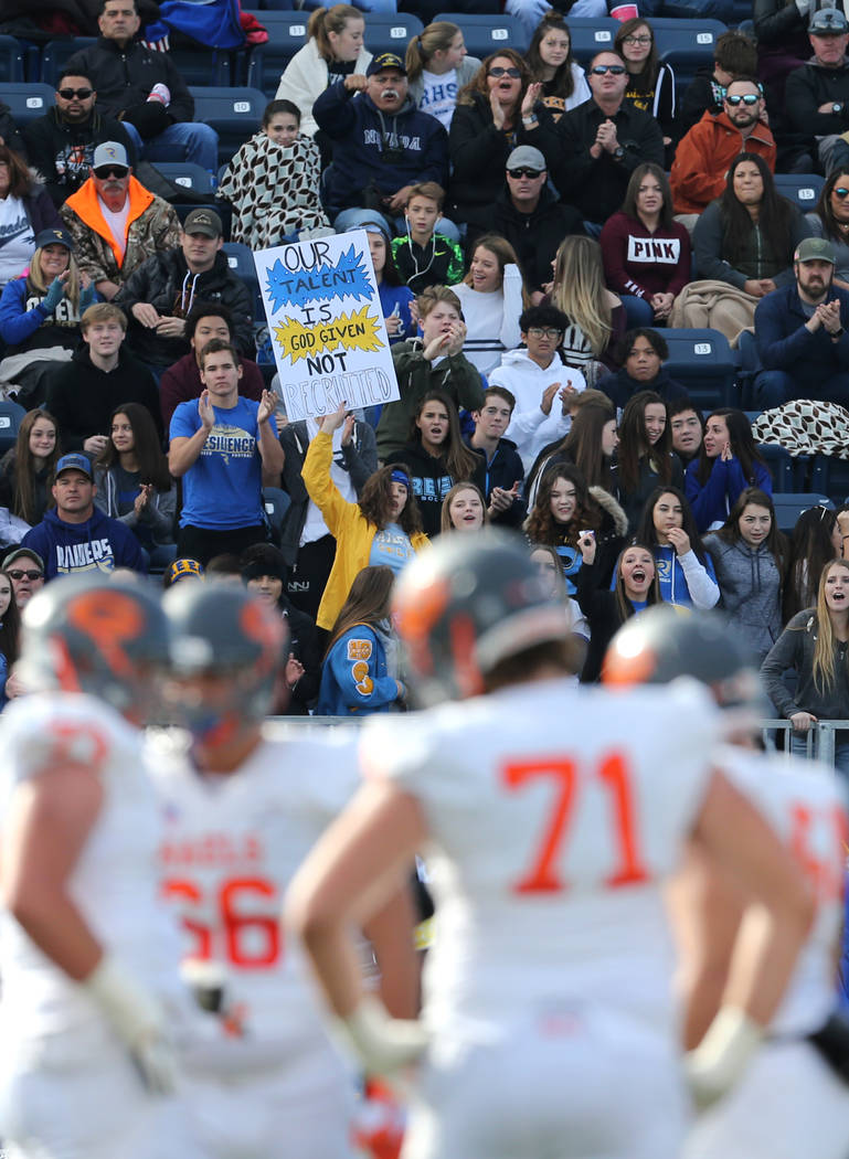 during the first half of the NIAA 4A state championship football game in Reno, Nev., on Satu ...