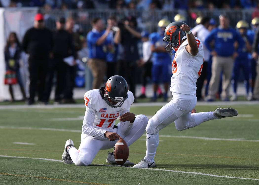 Bishop Gorman kicker Derek Ng competes in the NIAA 4A state championship football game in Re ...