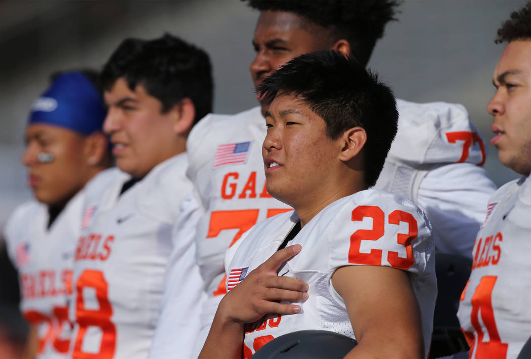 Bishop Gorman kicker Derek Ng prepares to compete in the NIAA 4A state championship football ...