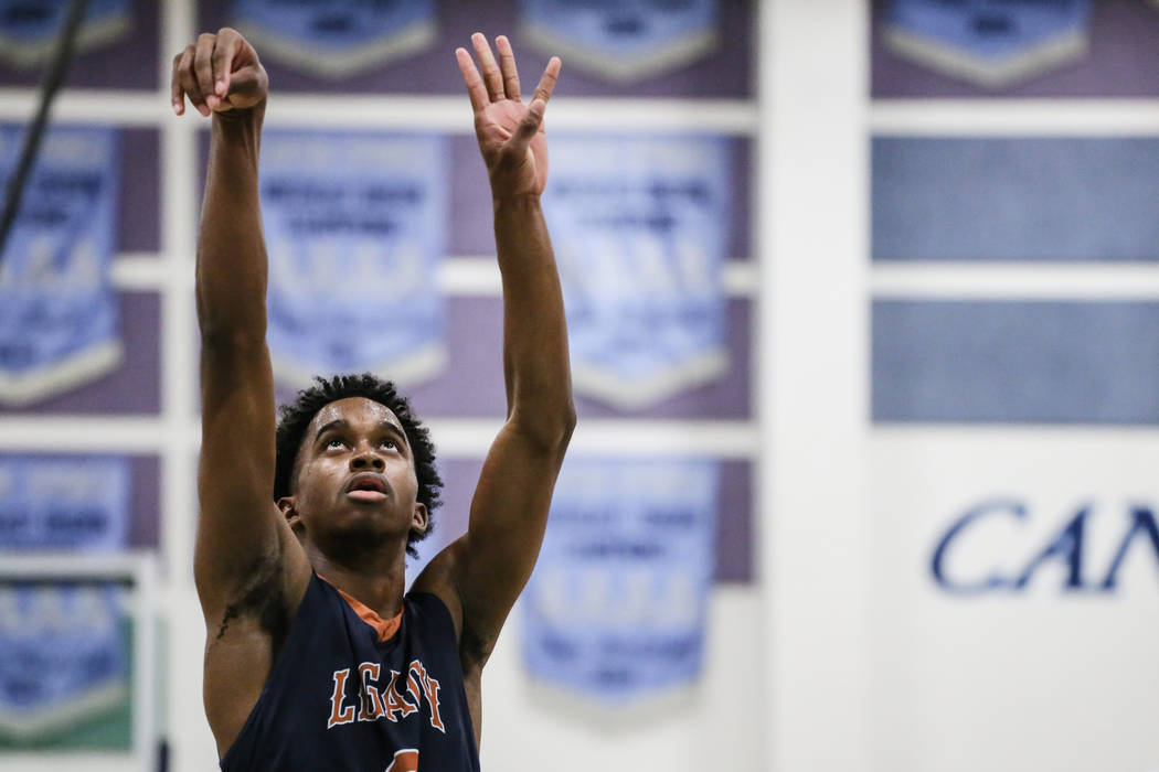 Legacyճ Cristian Pitts (3) shoots a free-throw during the third quarter of a basketbal ...