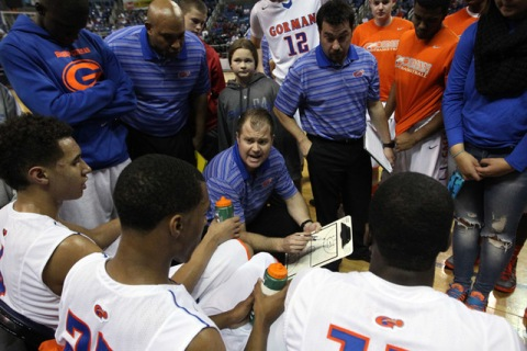 Bishop Gorman Head Coach Grant Rice talks to his team during the Division I championship gam ...