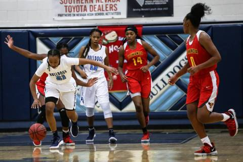 Centennial's Justice Ethridge (21) dribbles the ball up court during the first quarter ...