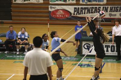 Centennial High School volleyball player Talia Barnes (16) passes the ball over Palo Verde p ...