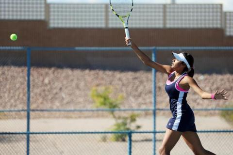 The Meadows senior Anjali Daulat returns the ball during a Division I-A state championship m ...
