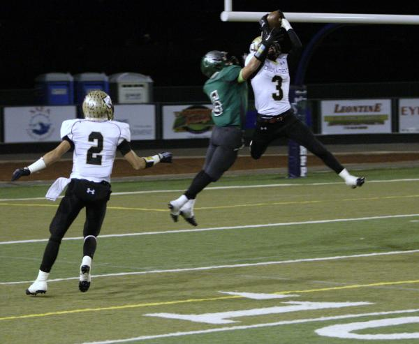 Faith Lutheran's Vinny DeGeorge (3) intercepts a pass intended for Churchill County&#8 ...