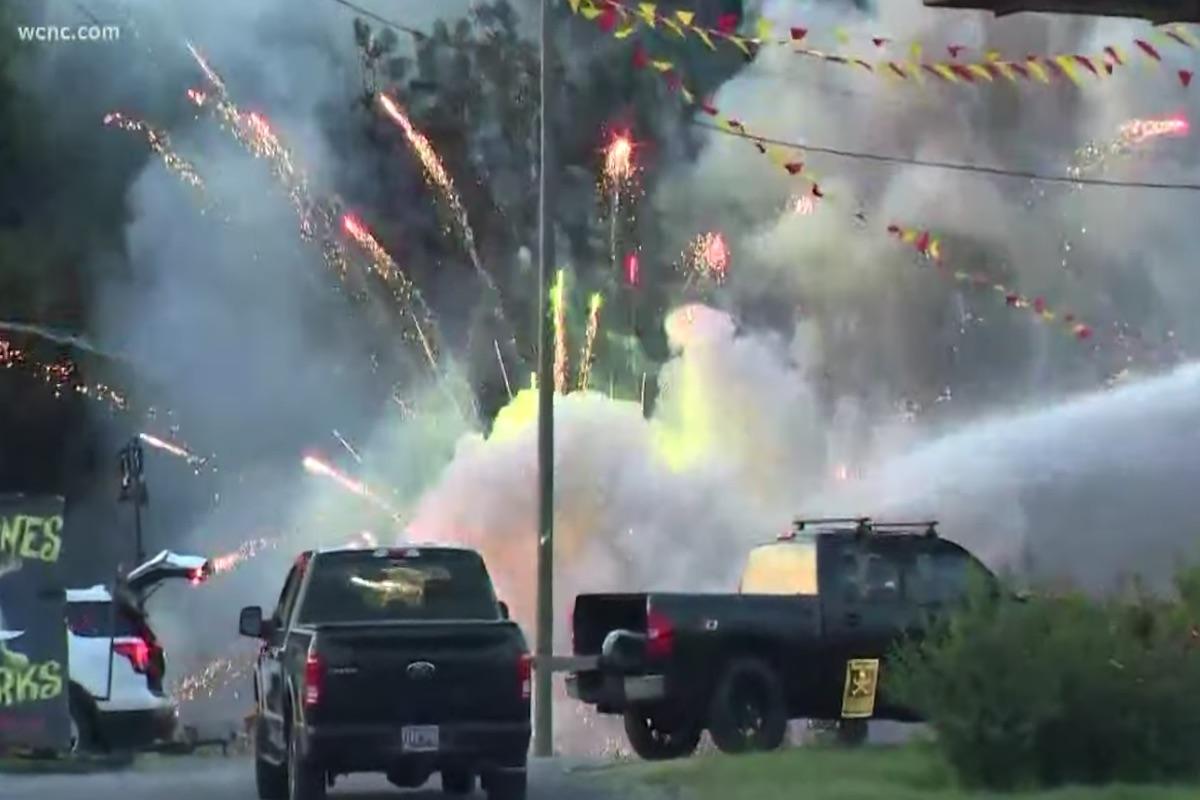 South Carolina fire crews dodge rockets as store's fireworks