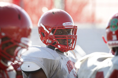 Arbor View High School football player Elijah George, center, is seen during practice at the ...