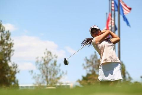 Alexandra Kaui practices her swing at Desert Pines Golf Club. The recent Green Valley High S ...