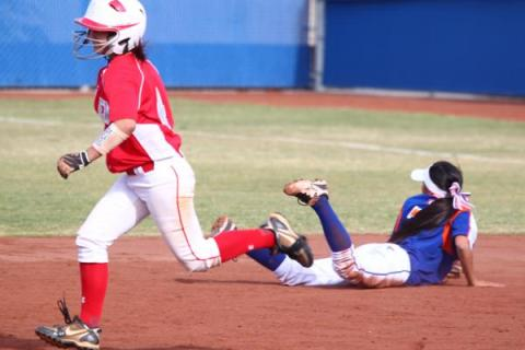 Arbor View shortstop Karli Lehr looks to complete a double play after forcing out Bishop Gor ...