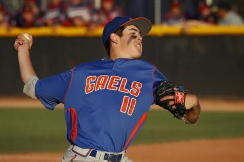 Bishop Gorman freshman Jack Little delivers a pitch during the Division I state tournament o ...